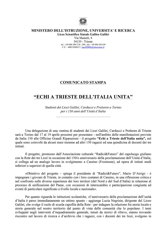 Comunicato stampa (5.3.2011)
